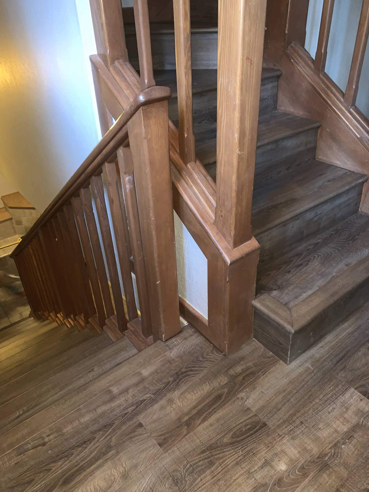 Newly installed LVP on staircase