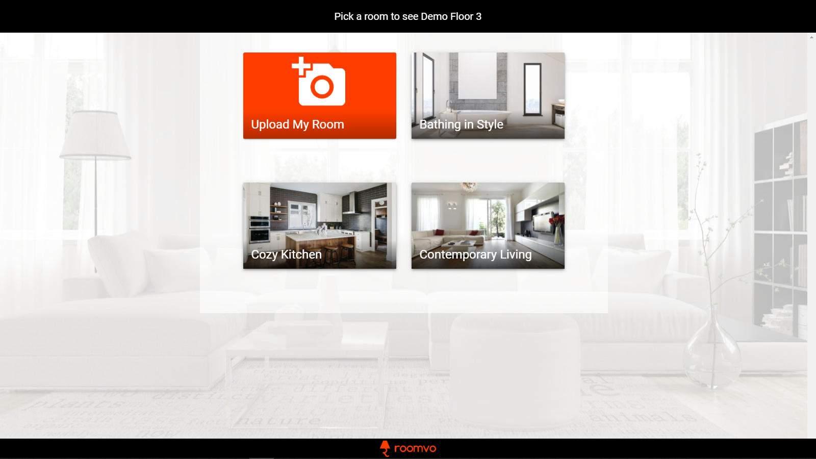 Roomvo Select Screen